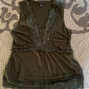 WHBM Olive Tank with Lace Detail